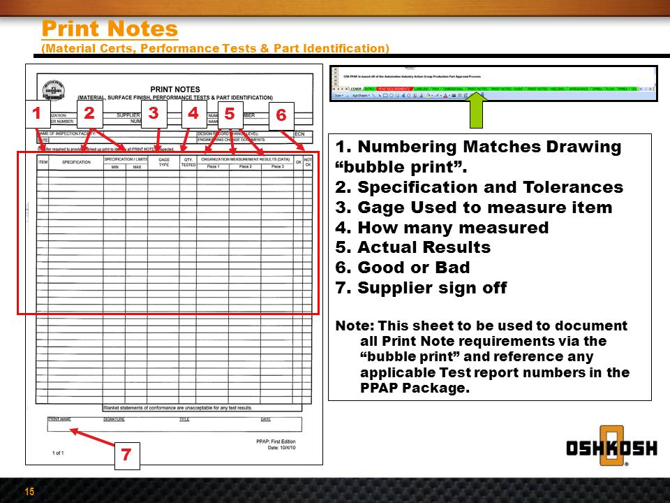 Print Notes (Material Certs, Performance Tests & Part Identification)