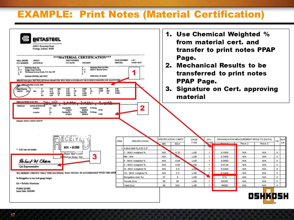 EXAMPLE: Print Notes (Material Certification)