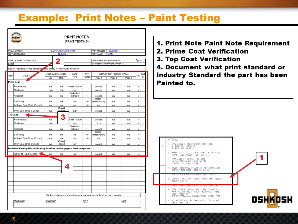 Example: Print Notes – Paint Testing