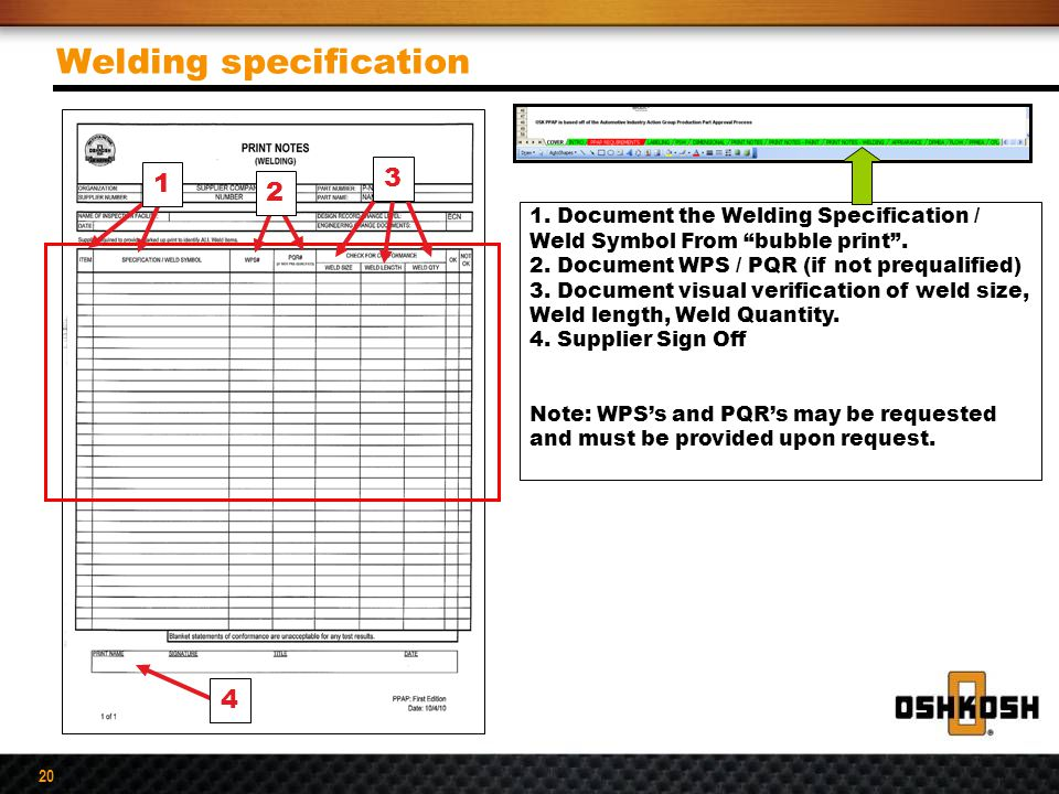 Welding specification