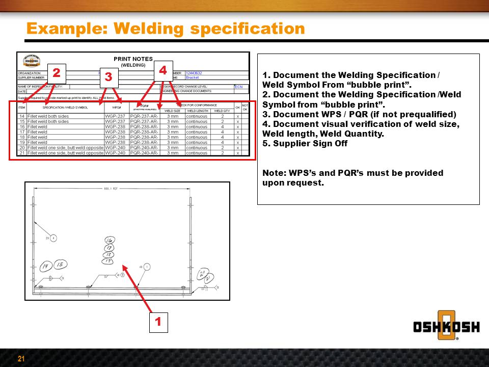 Example: Welding specification
