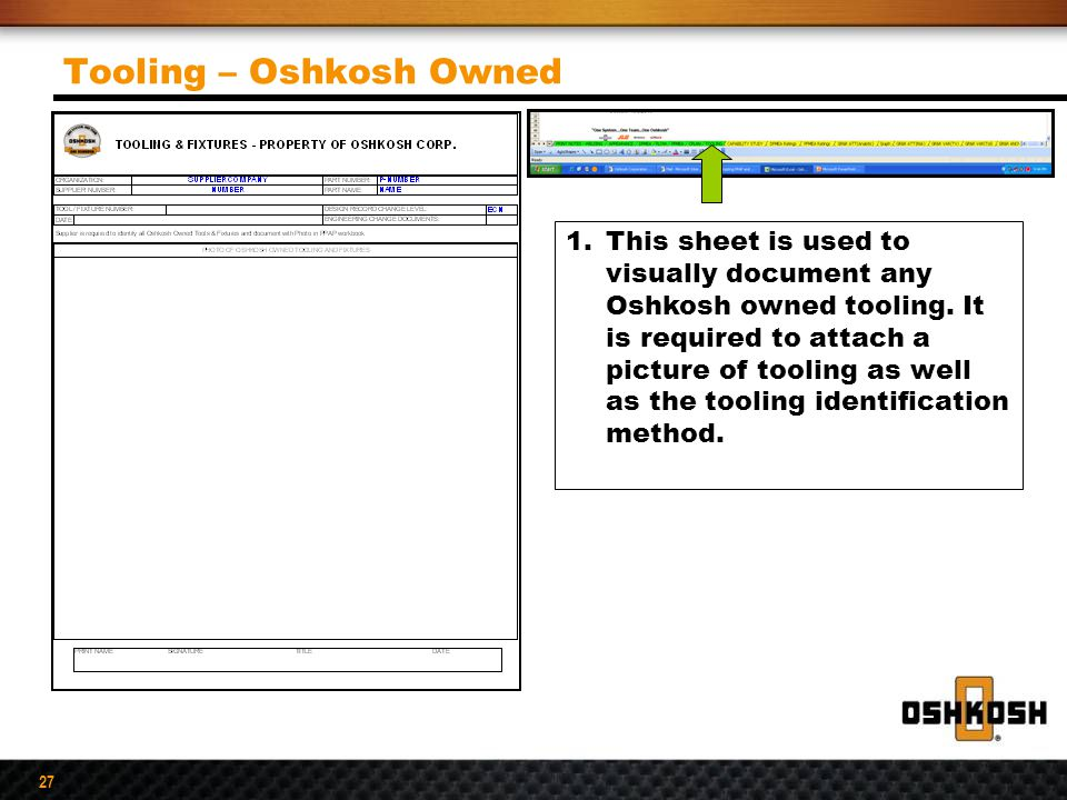 Tooling – Oshkosh Owned