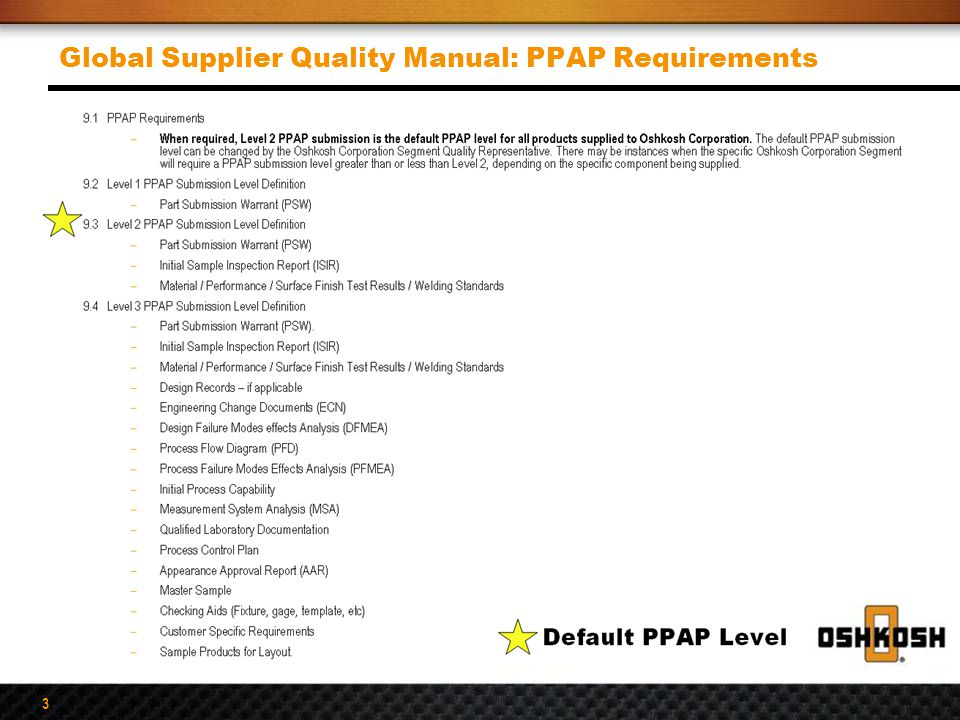 Global Supplier Quality Manual: PPAP Requirements