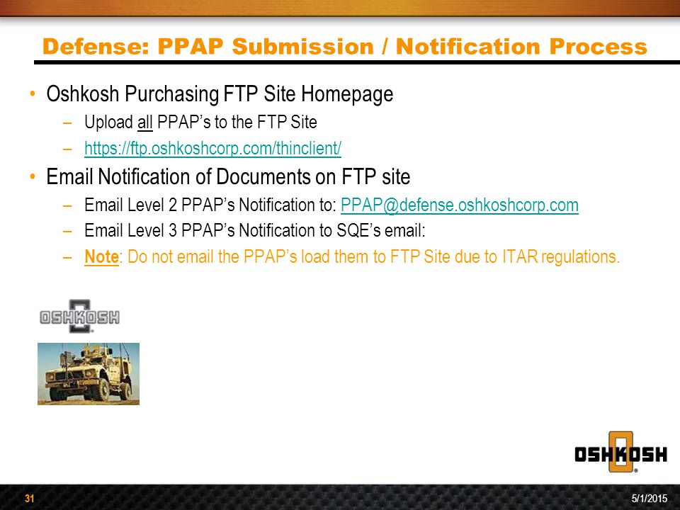 Defense: PPAP Submission / Notification Process