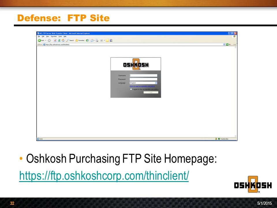 Oshkosh Purchasing FTP Site Homepage: