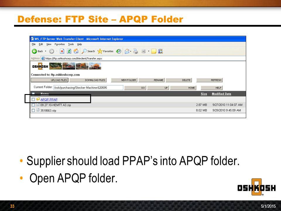 Defense: FTP Site – APQP Folder