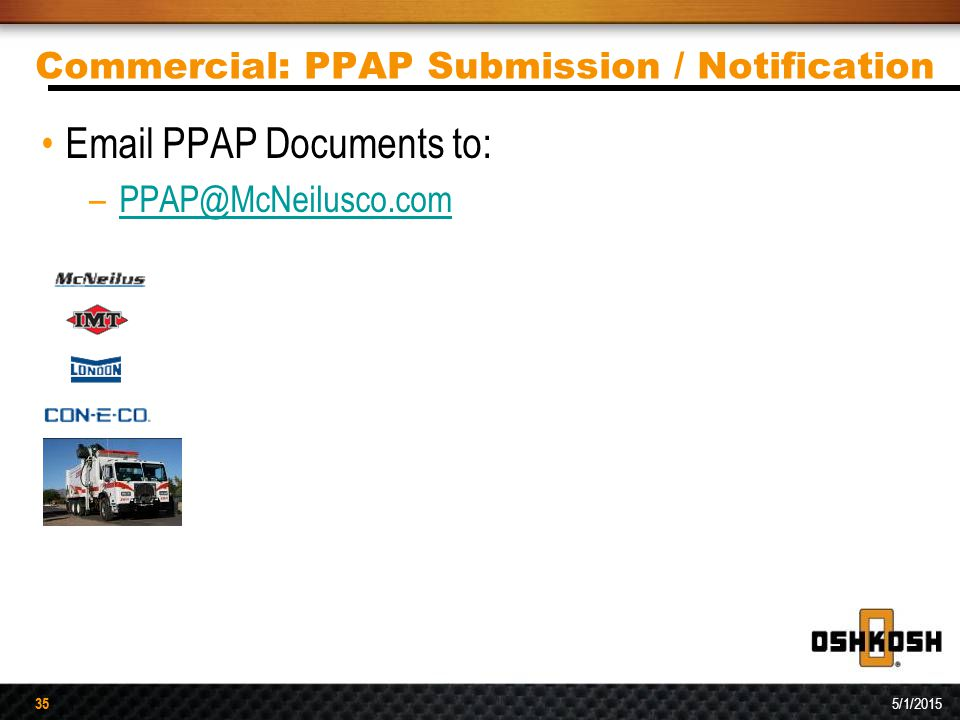 Commercial: PPAP Submission / Notification