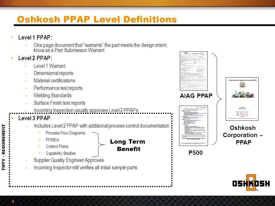 Oshkosh PPAP Level Definitions