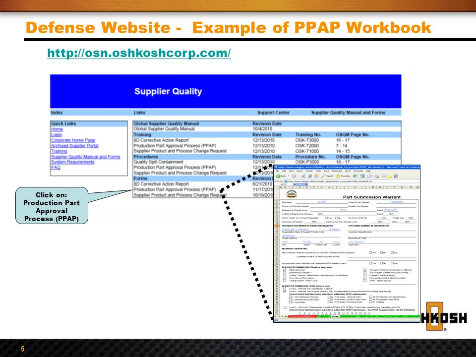 Defense Website - Example of PPAP Workbook