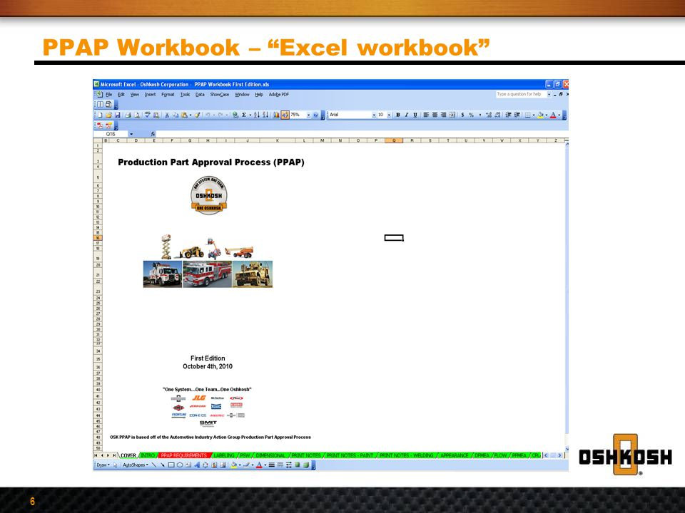 PPAP Workbook – Excel workbook