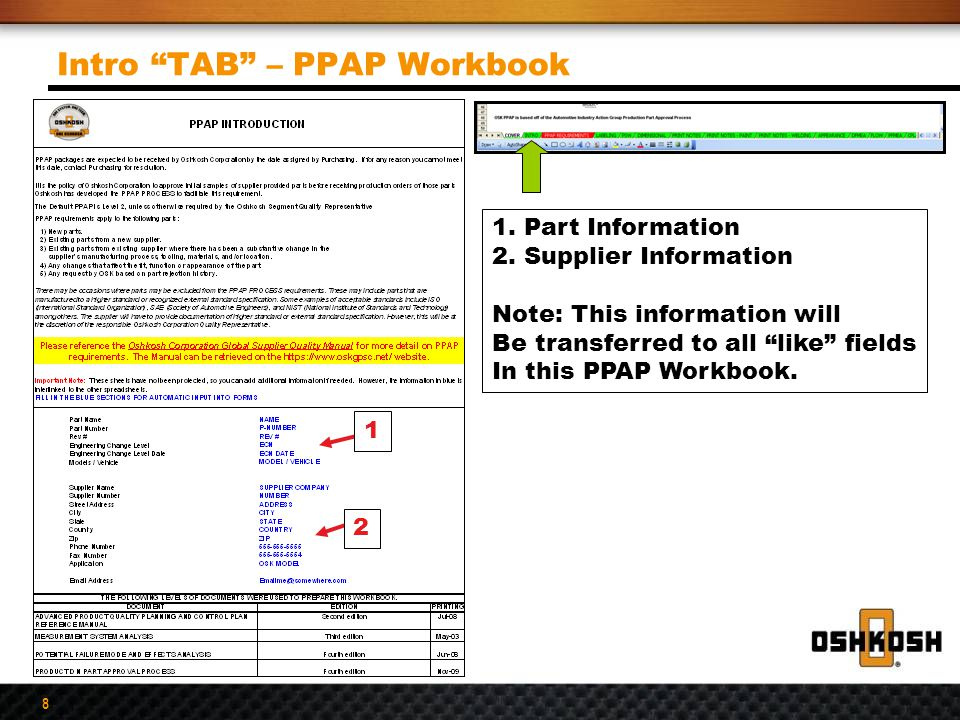 Intro TAB – PPAP Workbook