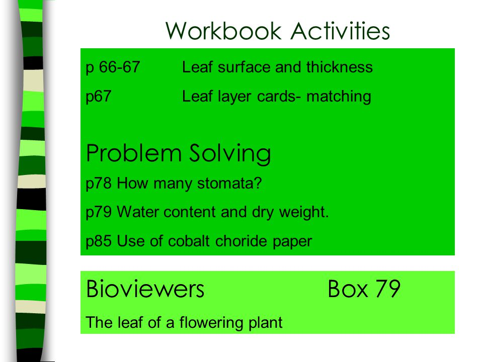 Workbook Activities Problem Solving Bioviewers Box 79