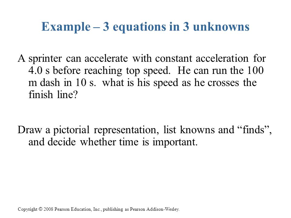 Example – 3 equations in 3 unknowns