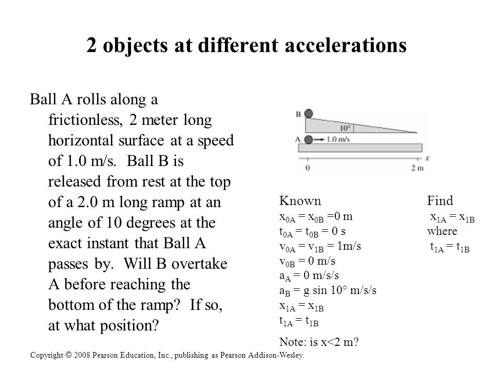 2 objects at different accelerations