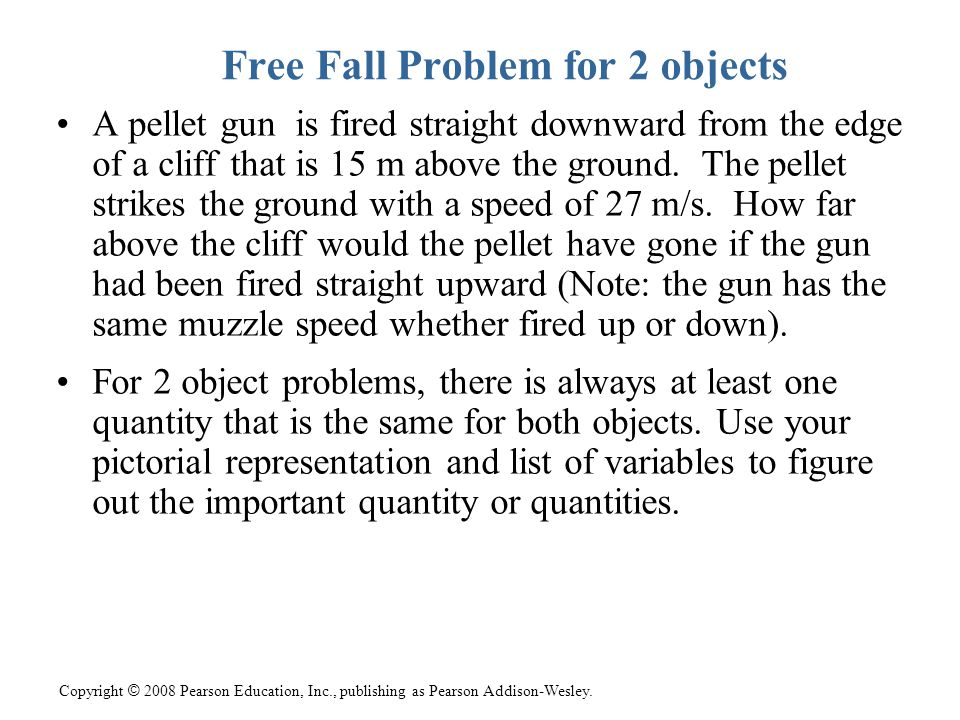 Free Fall Problem for 2 objects