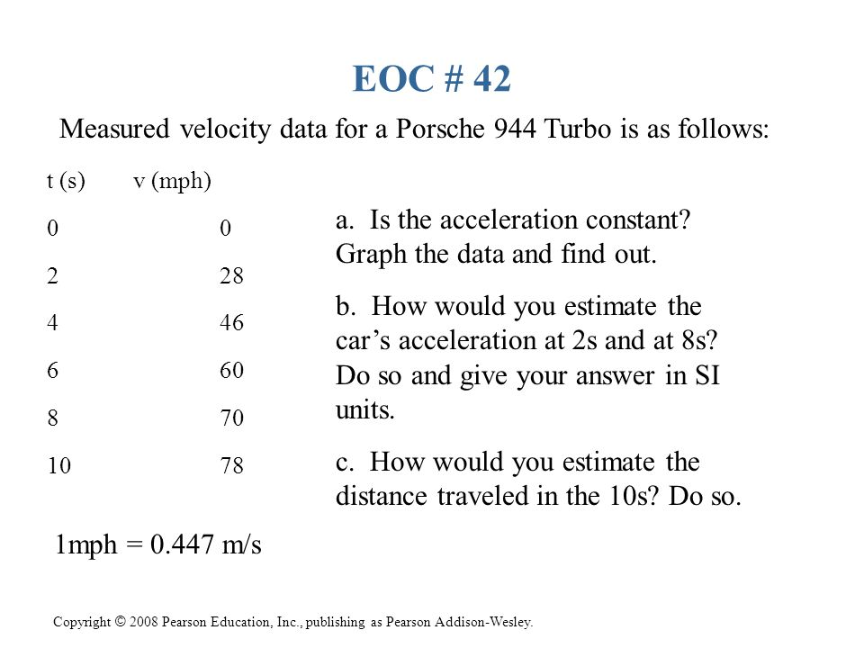 EOC # 42 Measured velocity data for a Porsche 944 Turbo is as follows: