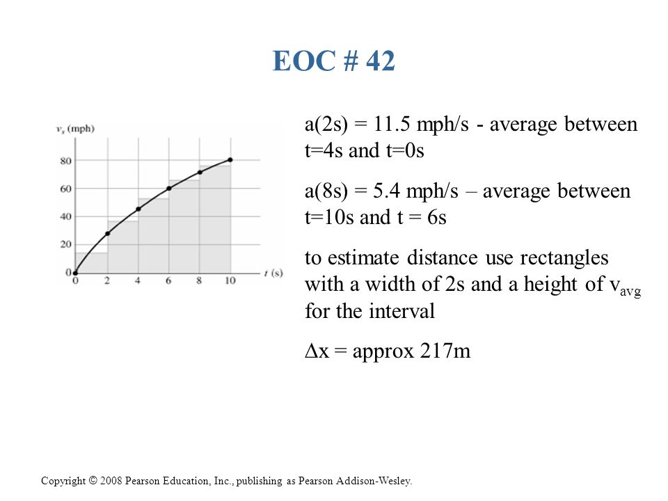 EOC # 42 a(2s) = 11.5 mph/s - average between t=4s and t=0s