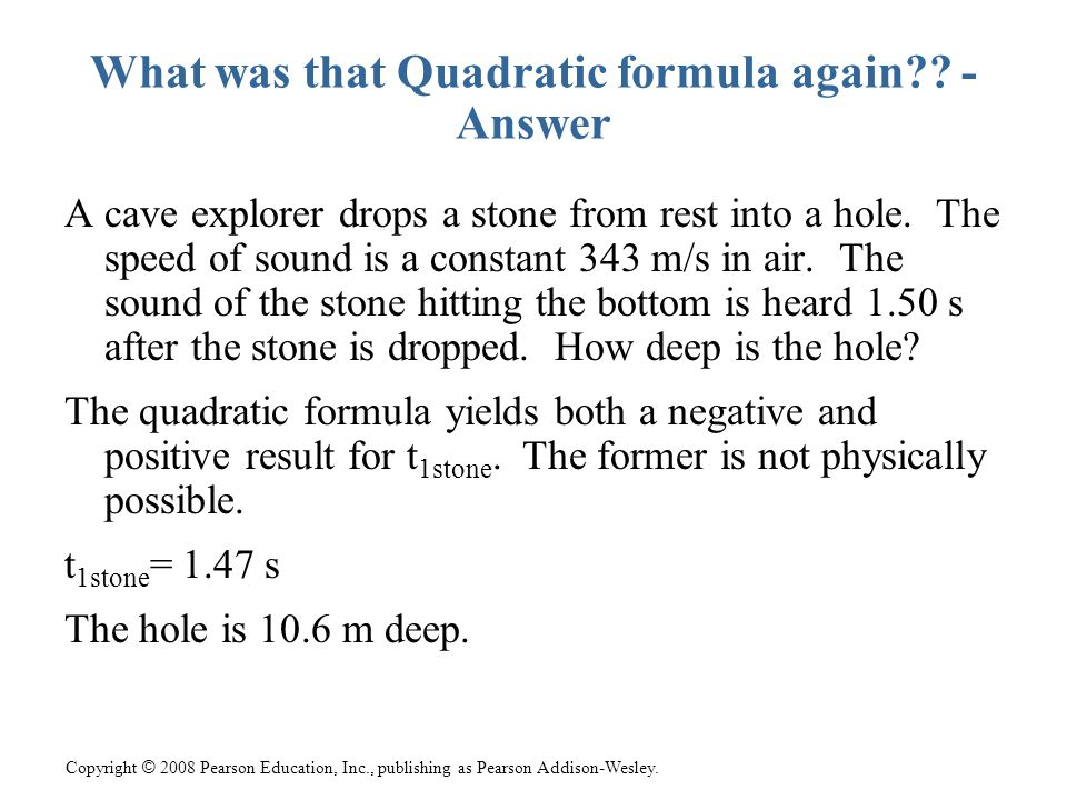 What was that Quadratic formula again - Answer