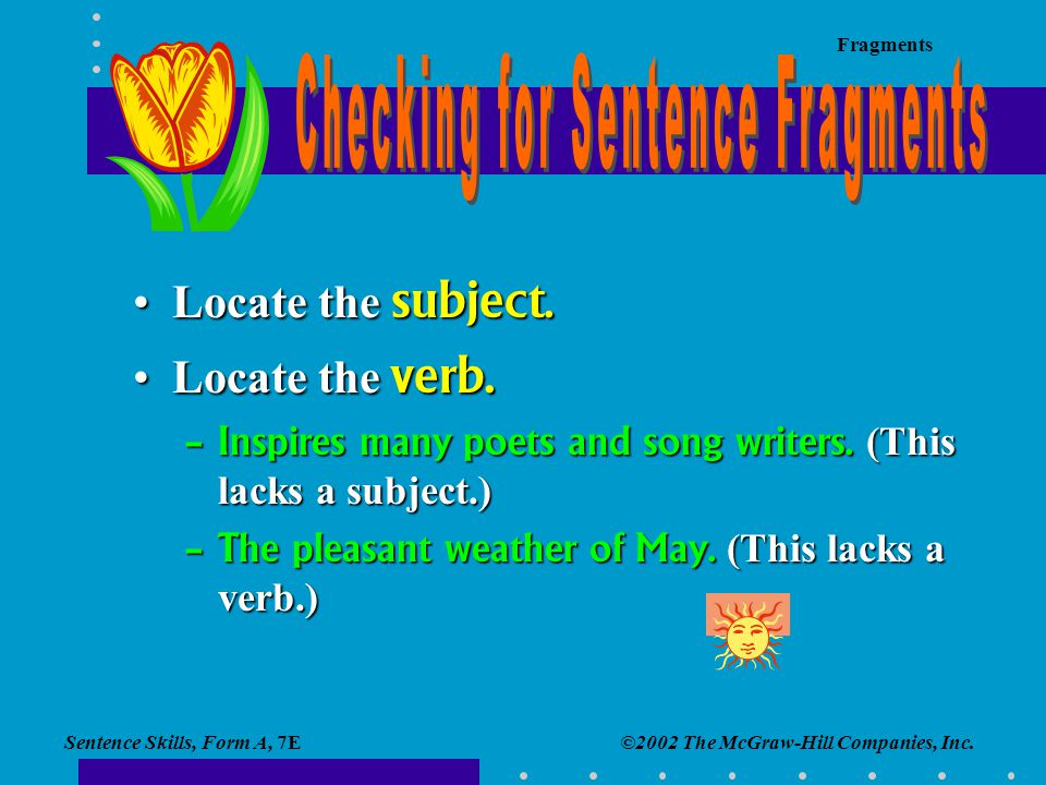 Checking for Sentence Fragments