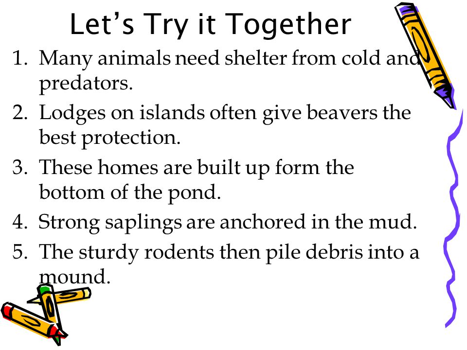 Let's Try it Together Many animals need shelter from cold and predators. Lodges on islands often give beavers the best protection.