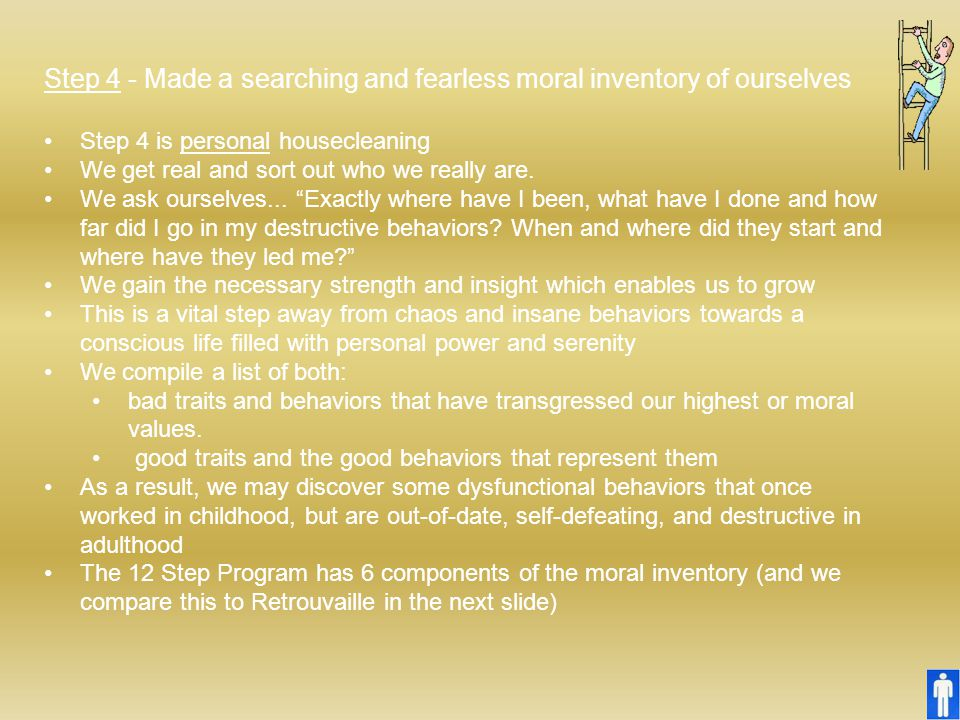 Step 4 - Made a searching and fearless moral inventory of ourselves