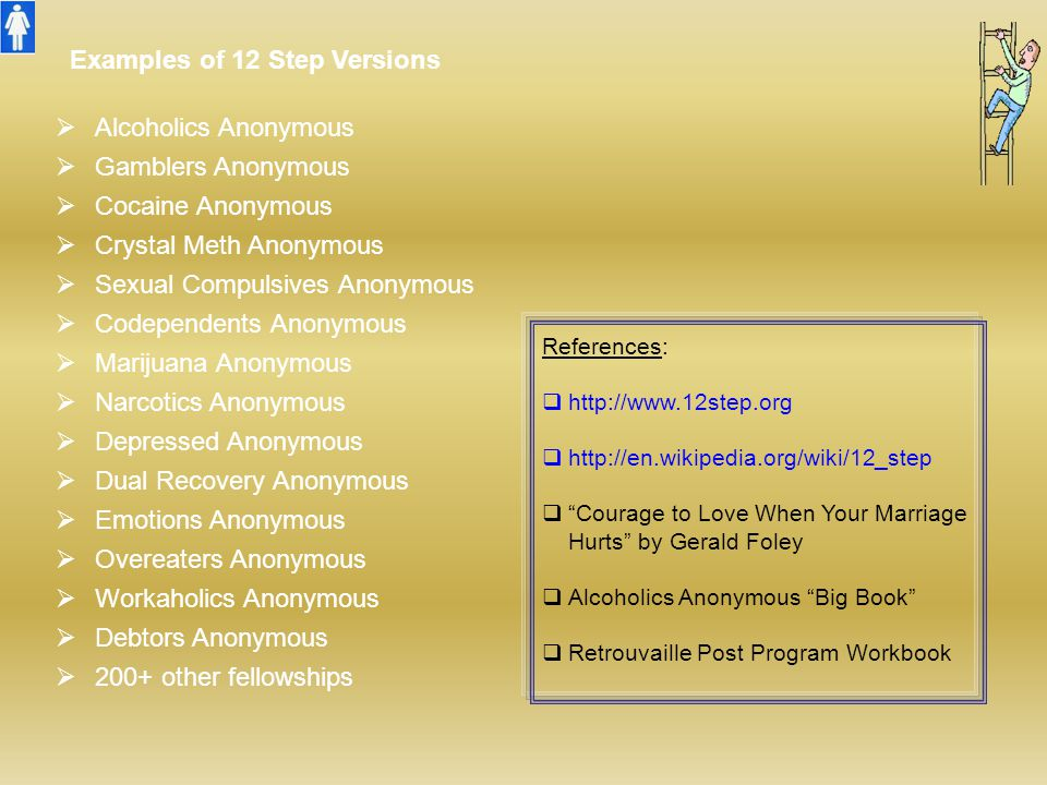 Examples of 12 Step Versions Alcoholics Anonymous Gamblers Anonymous