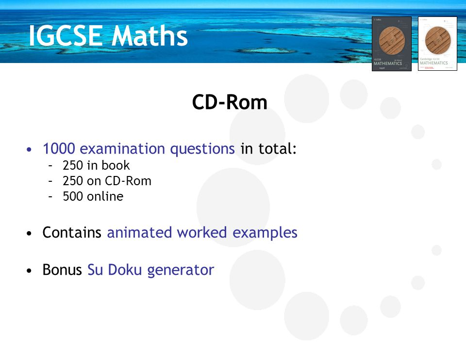 IGCSE Maths CD-Rom 1000 examination questions in total: