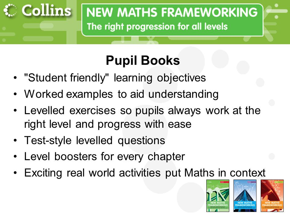 Pupil Books Student friendly learning objectives