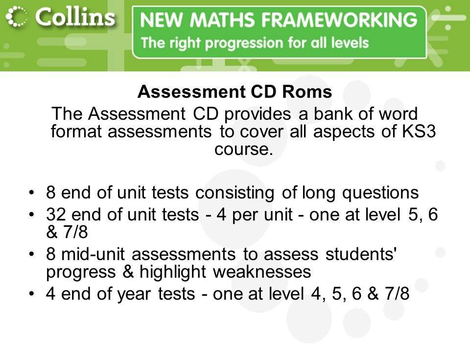 Assessment CD Roms The Assessment CD provides a bank of word format assessments to cover all aspects of KS3 course.