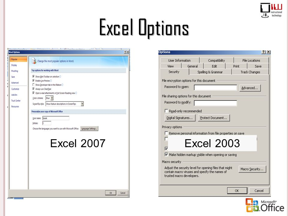 Excel Options Excel 2007 Excel 2003