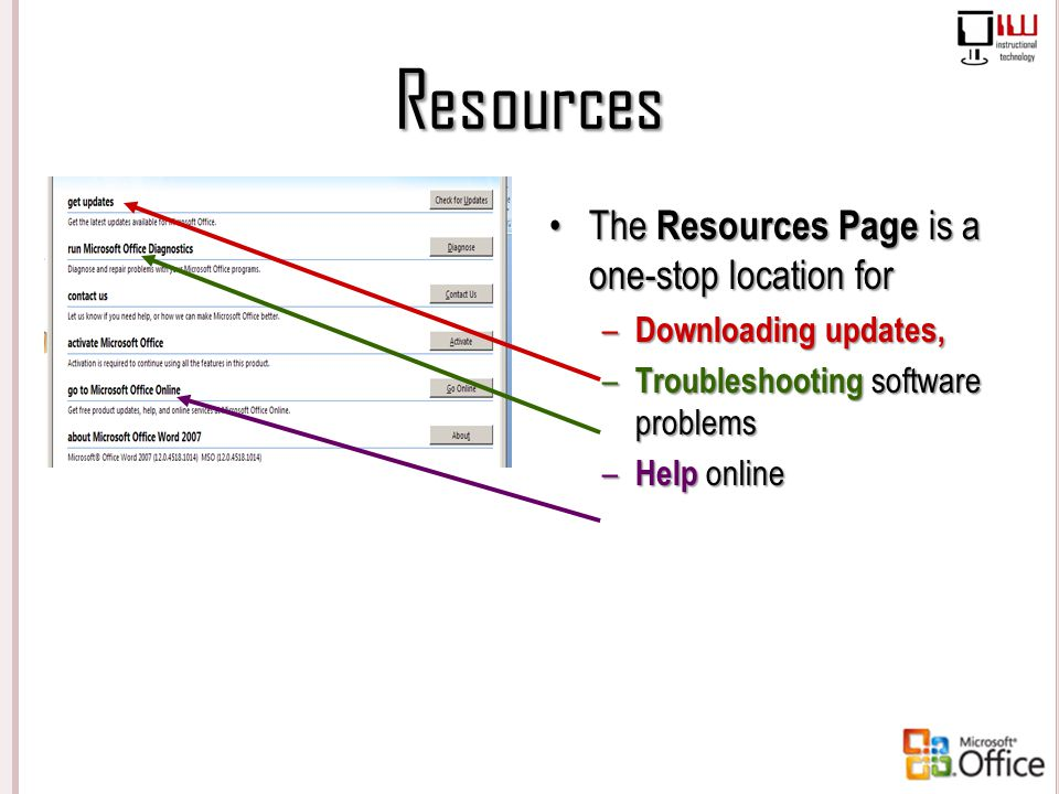Resources The Resources Page is a one-stop location for