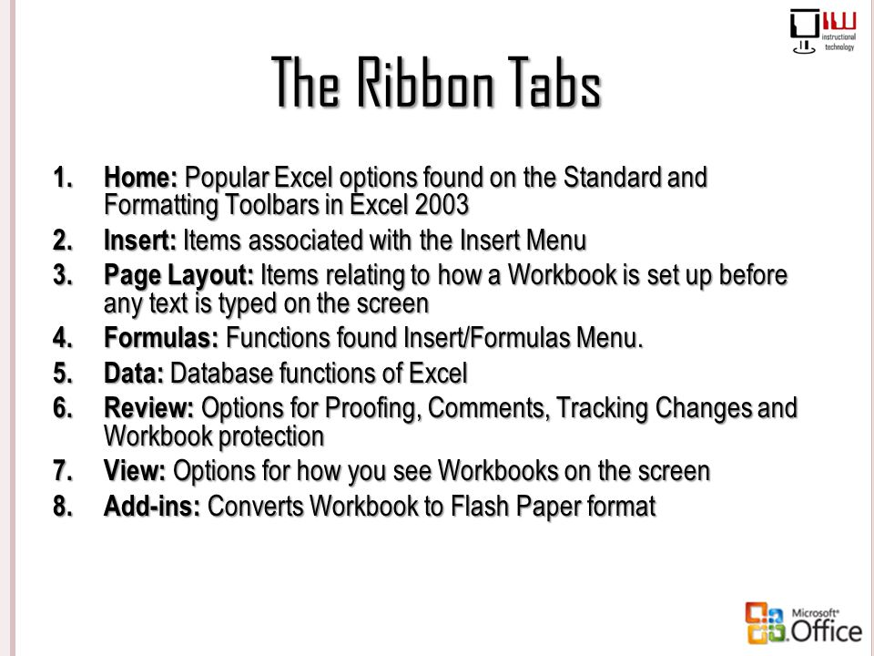 The Ribbon Tabs Home: Popular Excel options found on the Standard and Formatting Toolbars in Excel 2003.