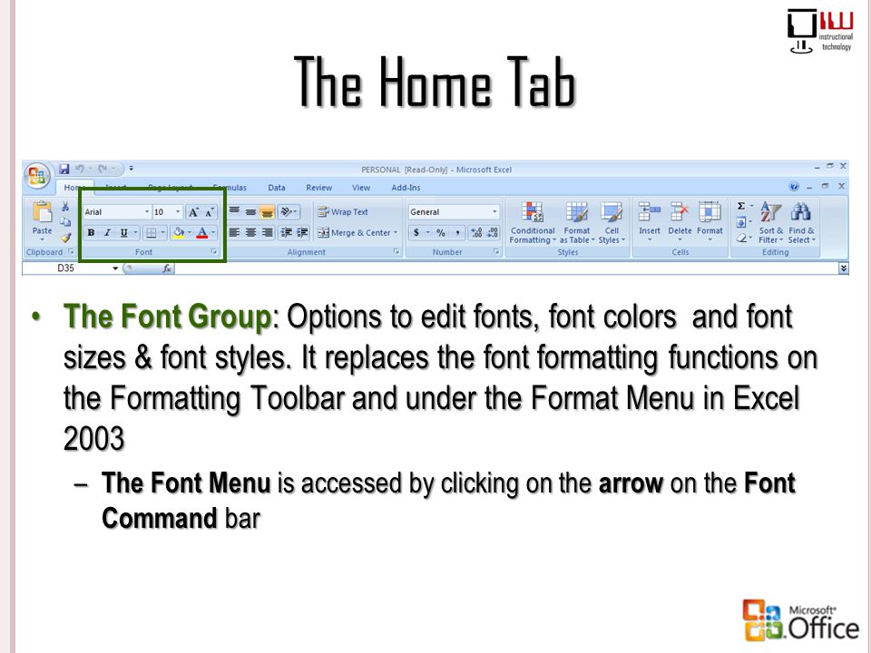 The Home Tab