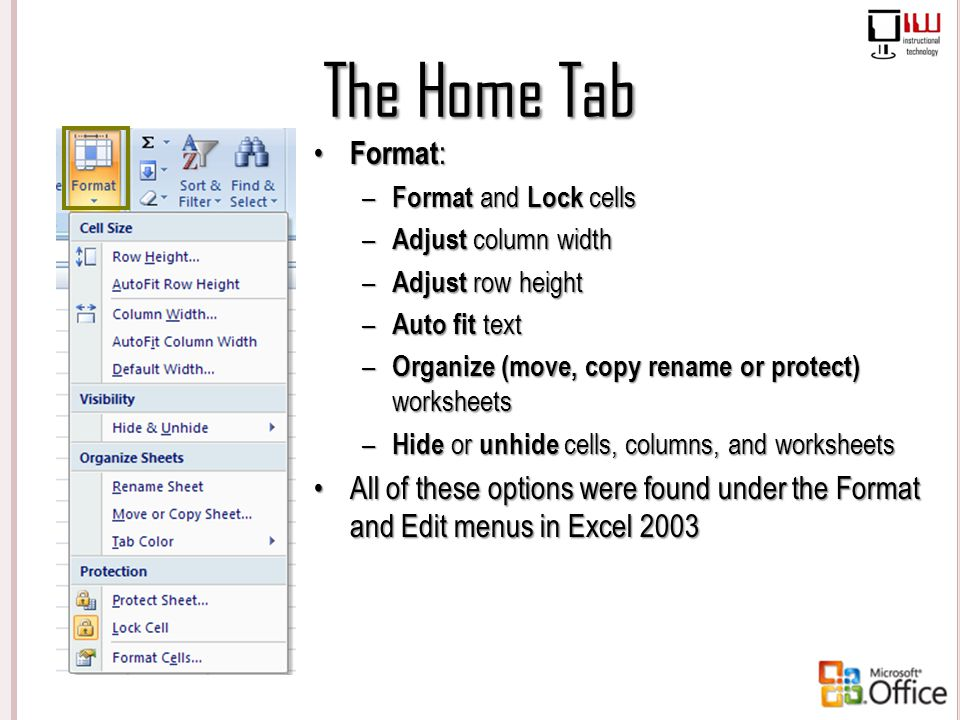 The Home Tab Format: Format and Lock cells. Adjust column width. Adjust row height. Auto fit text.
