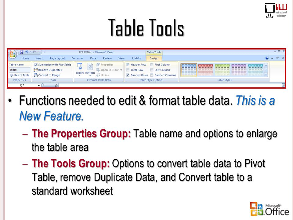 Table Tools Functions needed to edit & format table data. This is a New Feature.