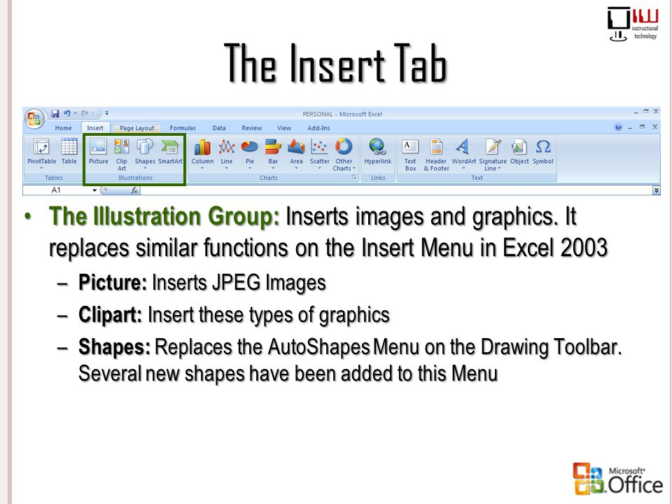 The Insert Tab The Illustration Group: Inserts images and graphics. It replaces similar functions on the Insert Menu in Excel 2003.
