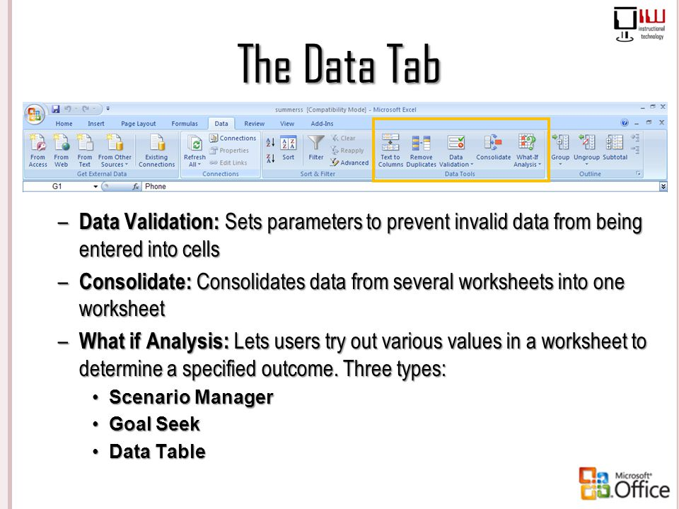 The Data Tab Data Validation: Sets parameters to prevent invalid data from being entered into cells.