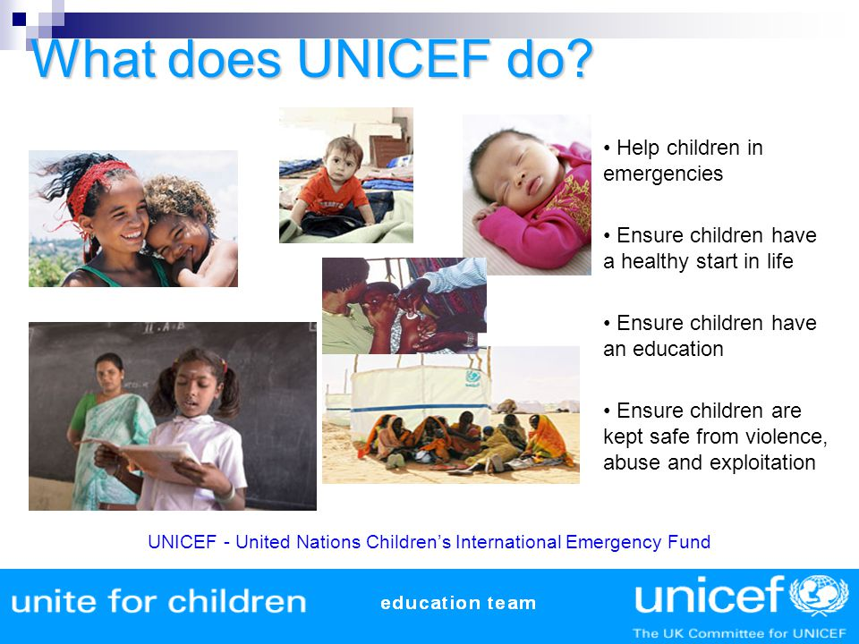What does UNICEF do Help children in emergencies