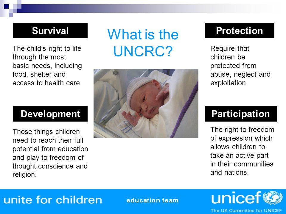 What is the UNCRC Survival Protection Development Participation