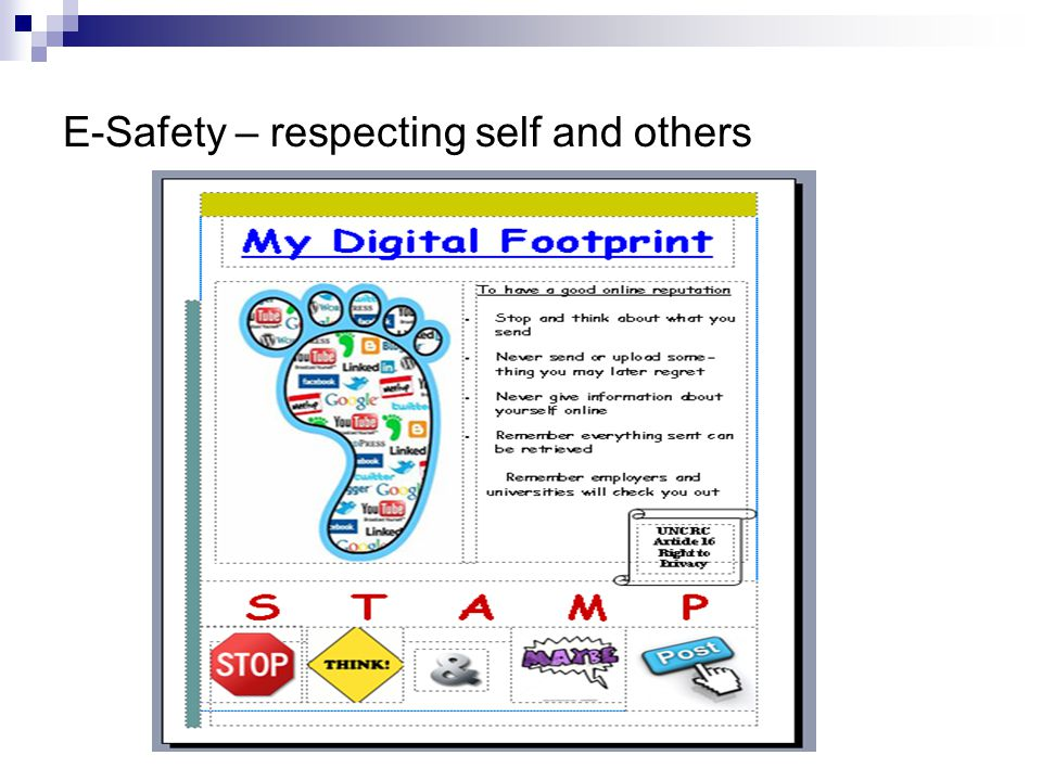 E-Safety – respecting self and others