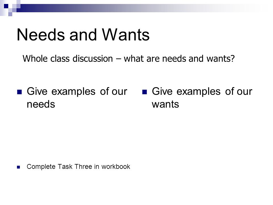 Needs and Wants Give examples of our needs Give examples of our wants