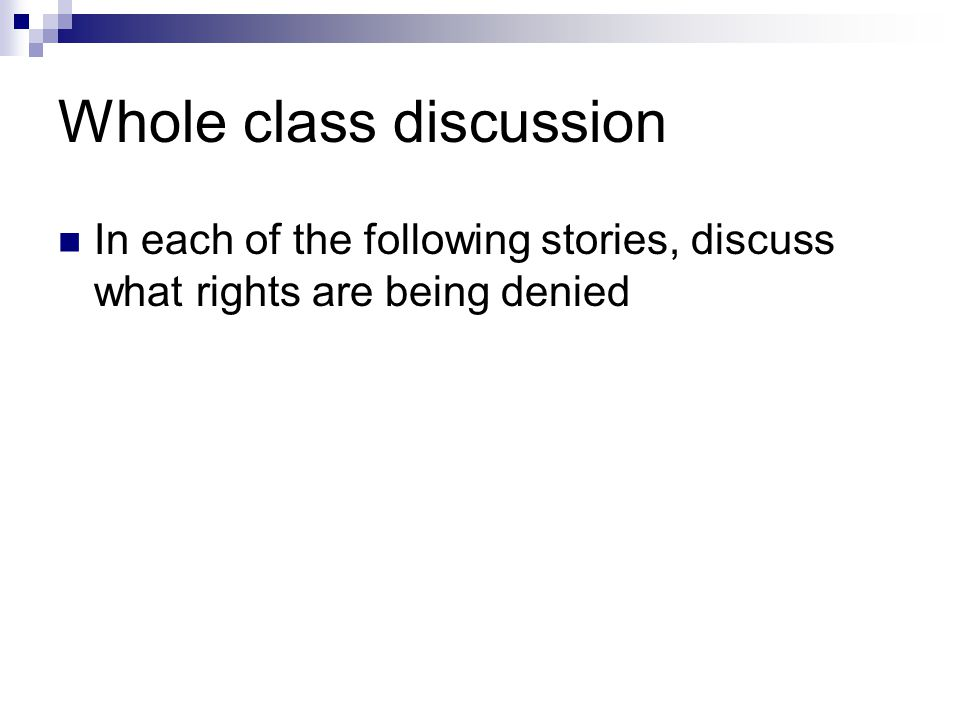 Whole class discussion