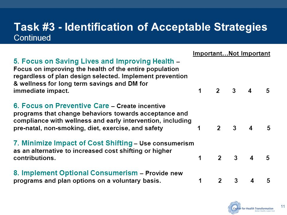 Task #3 - Identification of Acceptable Strategies Continued