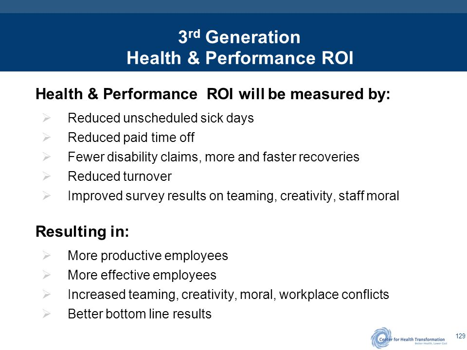 3rd Generation Creating the Health & Performance ROI