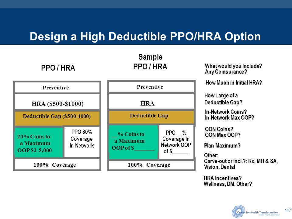 Design a High Deductible PPO/HSA Option