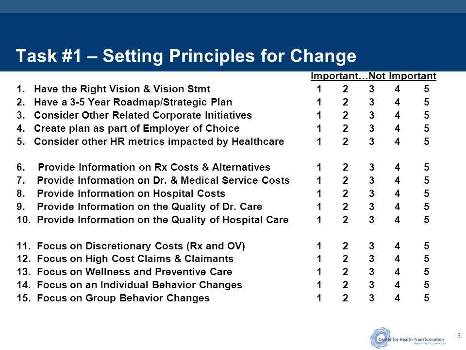 Task # 1 – Setting Principles for Change