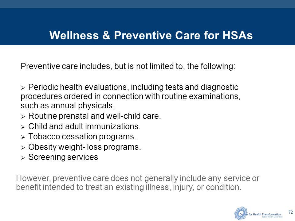 HSA Safe Harbor Preventive Care Screening Services