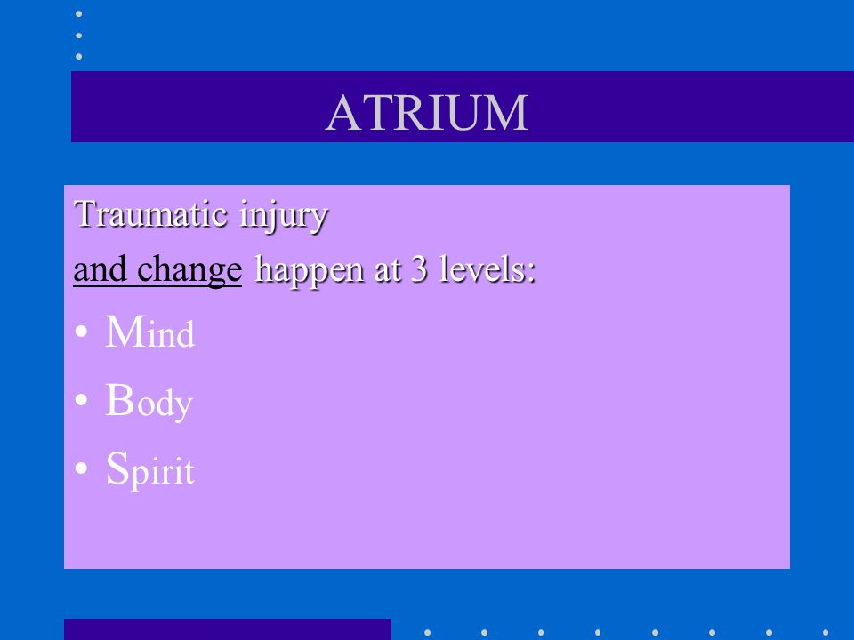 ATRIUM Mind Body Spirit Traumatic injury