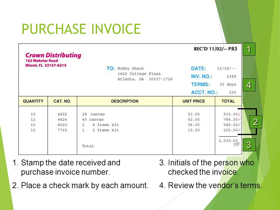 LESSON 9-1 4/13/2017. PURCHASE INVOICE. 1. 4. 2. Purchase Invoice: The source document used for recording all purchases.