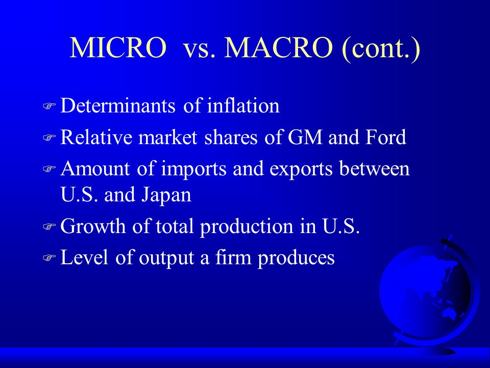 MICRO vs. MACRO (cont.) Determinants of inflation
